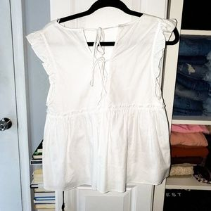 Zara Babydoll White Top